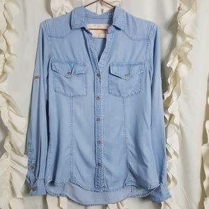 Bella Dahl pocket button up shirt chambray tencel